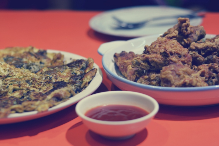 fried chicken and fried oyster cake