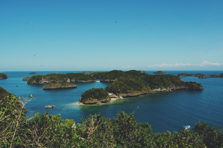 A few of the islands seen from the view deck of Governor's Island in the Hundred Islands National Park