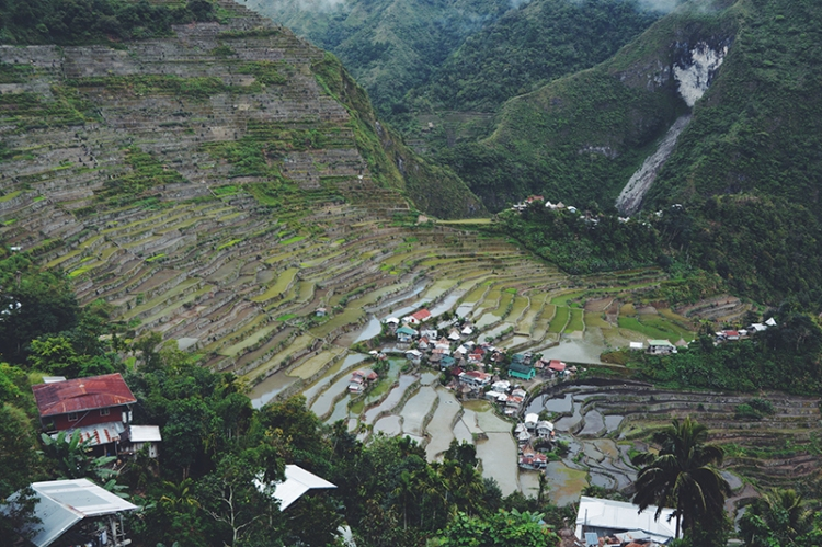 Rows of terraced field ponds carved on the foot of mountains dwarf houses in the village of Batad in Ifugao province.